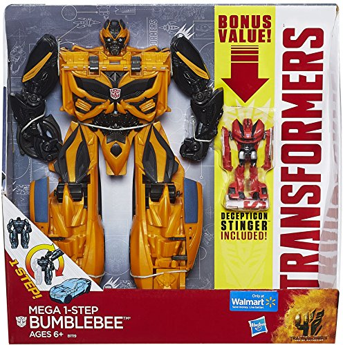 "Transformers Age of Extinction Mega 1-Step Bumblebee Exclusive 10"" Action Figure [Bonus Decepticon Stinger] (Hasbro Toys)"