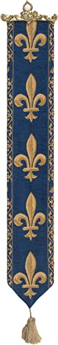 Charlotte Home Furnishing Inc. Belgium Bell Pull – Large, 6.00 in. x 44.00 in. Fleur de LYS Blue I