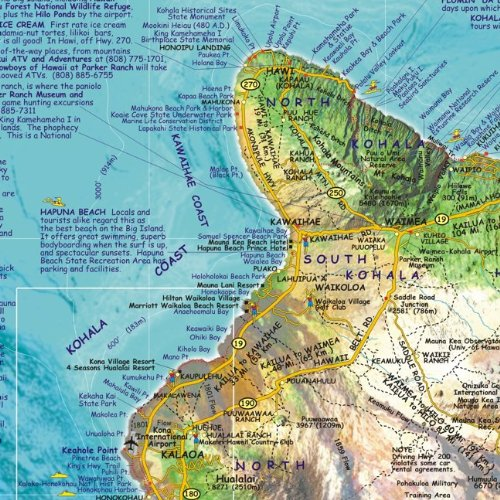 Kohala Coast Hawaii Map.Hawaii The Big Island Adventure Guide Franko Maps Waterproof Map
