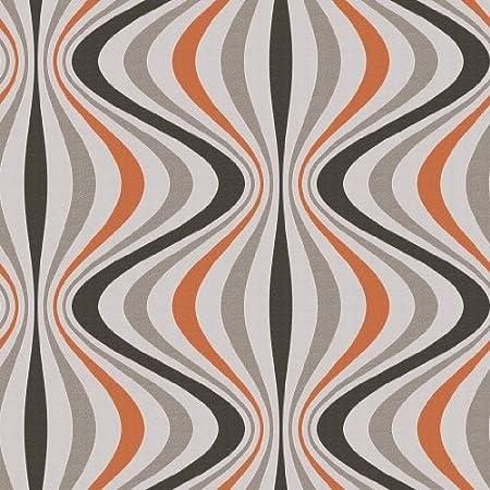 Retro - Trippy - Wave - Orange/Chocolate - DL31208 - Wallpaper: Amazon.co.uk: DIY & Tools