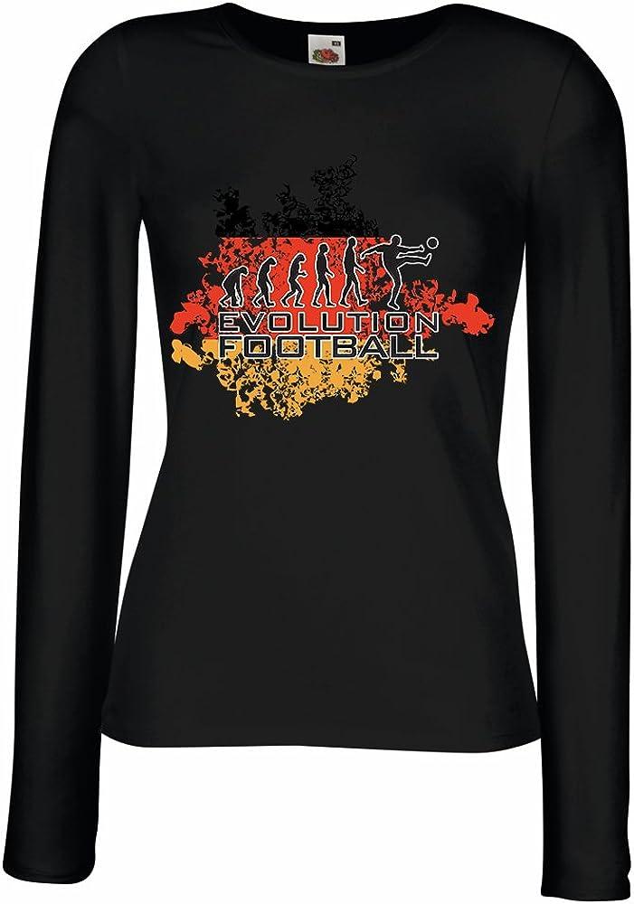 Camisetas de Manga Larga para Mujer Evolución del fútbol - Alemania, Campeonato de Rusia 2018, fútbol de la Copa del Mundo, Camisa del admirador de Equipo Alemana (X-Large Negro: Amazon.es: Ropa y