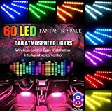 POMILE Strip Lights LED For Car, 4pcs 60 LED (4 x 27CM) Multicolor Music Car Interior Lights Under Dash Lighting Waterproof Kit with Sound Active Function and Wireless Remote Control, Car Charger Included, USB Port 5V