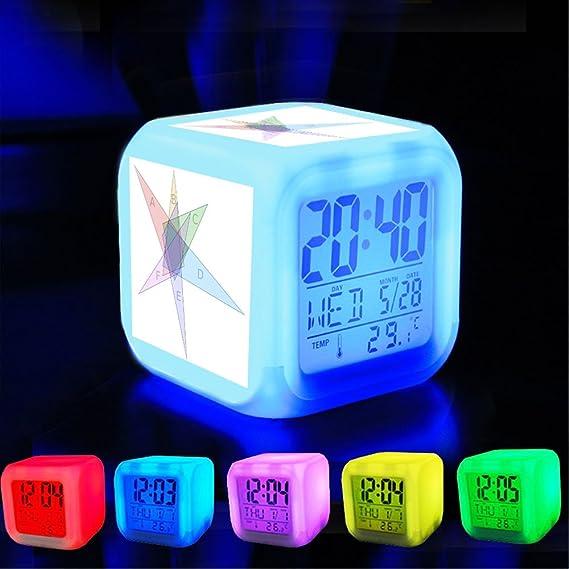 Dormitorio con datos de encendido reloj despertador 7 cambio de color LED y pantalla de temperatura (presillas Color) personalizar la pattern-008.6-set ...