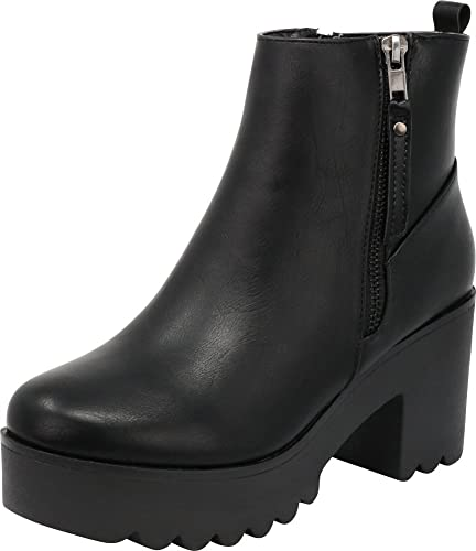 66d537c69cb Cambridge Select Women s Closed Toe Side Zip Platform Chunky Block Heel  Ankle Bootie
