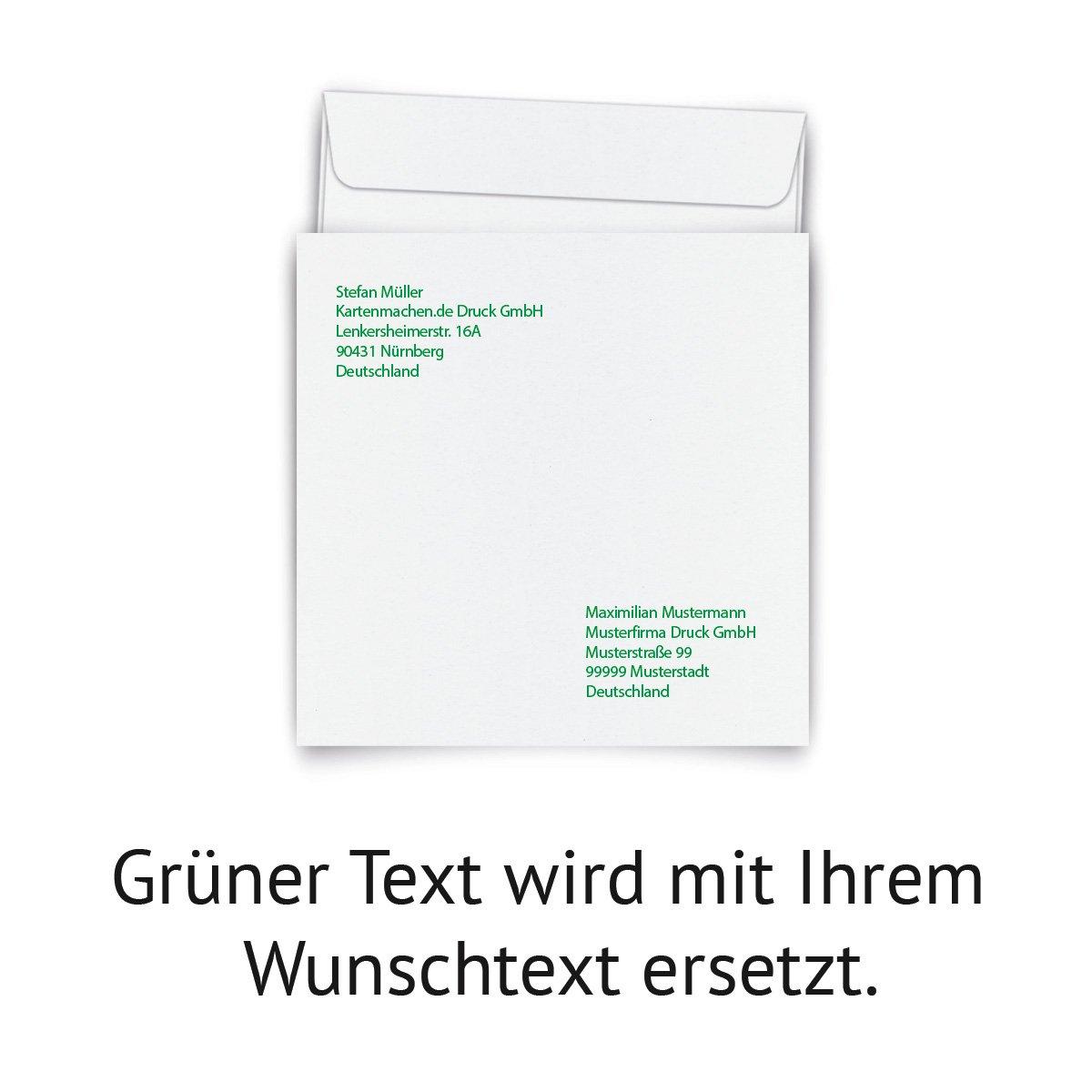 100 100 100 x Personalisierte Briefumschläge Quadrat 155 x 155 mm - Weiß individuell bedruckt B075821PVX | Ruf zuerst  | Modisch  | Modisch  8d823a