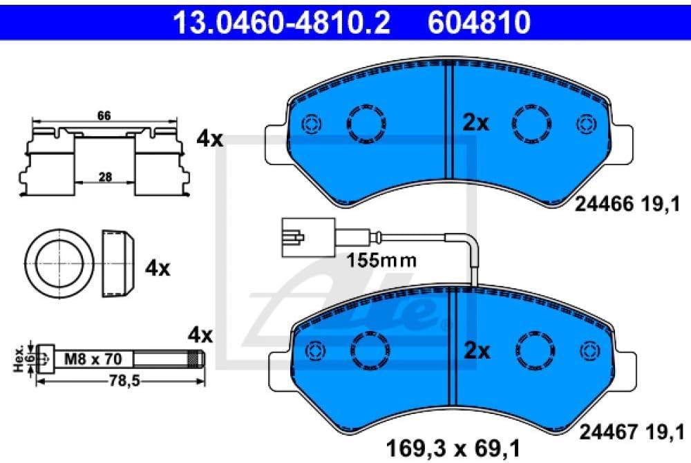 ATE 13046048102 Jeu de m/âchoires de freins /à disques