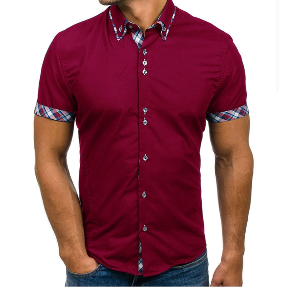 LOG SWIT Men Clothing Shirt Male Dress Shirts Slim Fit Turn-Down Men Short Sleeve Mens Hawaiian Shirt