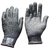 MOPOLIS Cut Resistant Gloves Level 5 Hand Protection Food Grade Kitchen Work Safety Gloves for Cutting and Slicing, Wood Carving, Cut Proof Knife Resistant Gloves All Sizes 1 Pair Grey (Large)