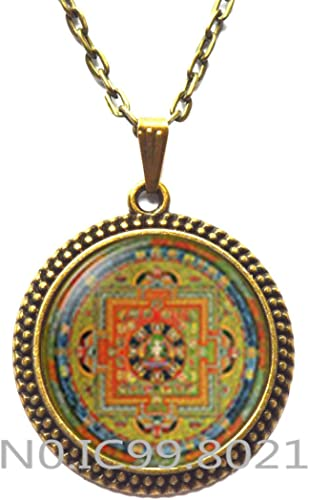 Buddhist Locket Necklace Buddhist Lotus Sri yantra Locket Necklace Lotus mandala Pink Lotus Sri Yantra Locket Pendant Sacred geometry jewelry,Q0208