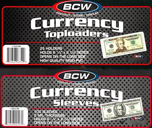 - 150 BCW Regular Bill Toploaders Top Load Holders Plus 200 Regular Bill Sleeves