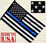 US Flag Factory 3'x5' American Thin Blue Line Flag (Embroidered Stars, Sewn Stripes) for Police Officers - Blue Lives Matter Flag - Outdoor SolarMax Nylon - 100% Made in America