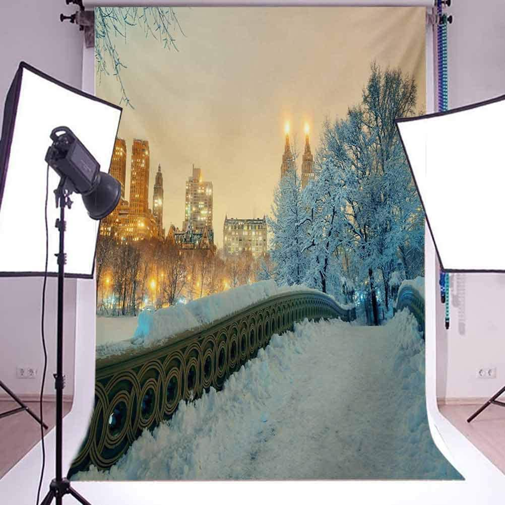 W Computer Printed Photography Background Backdrop 98.4 IN 59 IN Cartoon Bear Bed for Children 1.52m H