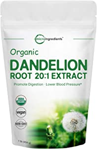 Sustainably US Grown, Organic Dandelion Root Powder, Pure Dandelion Supplement, 1 Pound (16 Ounce), Strong Liver Health Support, Non-GMO and Vegan Friendly