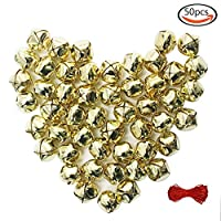 Outuxed 1 Inch Christmas Gold Jingle Bells Craft ( 50 Pack ) for Festival Decoration DIY Craft & 20-Meter Red Cord