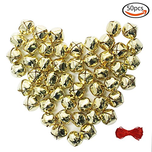Jingle Bell Necklace Craft - Outuxed 1 Inch Jingle Bells Christmas Gold Bells Craft ( 50 Pack ) for Festival Decoration DIY Craft & 20-Meter Red Cord