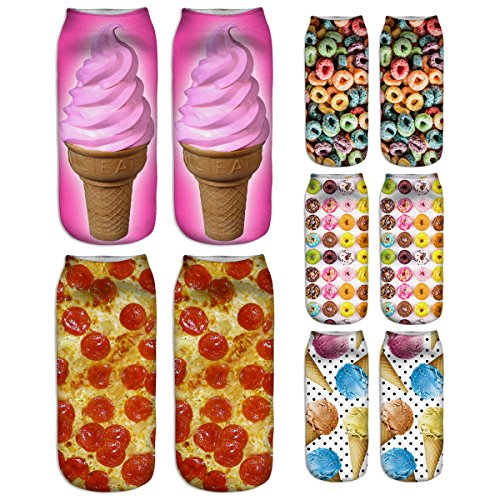 Zmart 5 Pack Women's Girls 3D Funny Crazy Novelty Food Ice-cream Ankle Socks