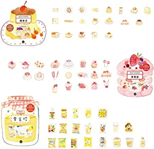 DzdzCrafts Snack Dessert Pie Strawberry 120pcs Food Stickers Set 1.57-Inches Large for Scrapbooking Diary Planner Card Making Laptop