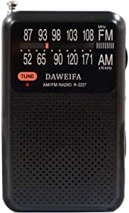 AM FM Radio, Portable Radios Battery-Powered with Antenna for Best Reception and Longest Lasting, Portable Radio with Built-in Speaker, Earphones Jack and Minimal Controls