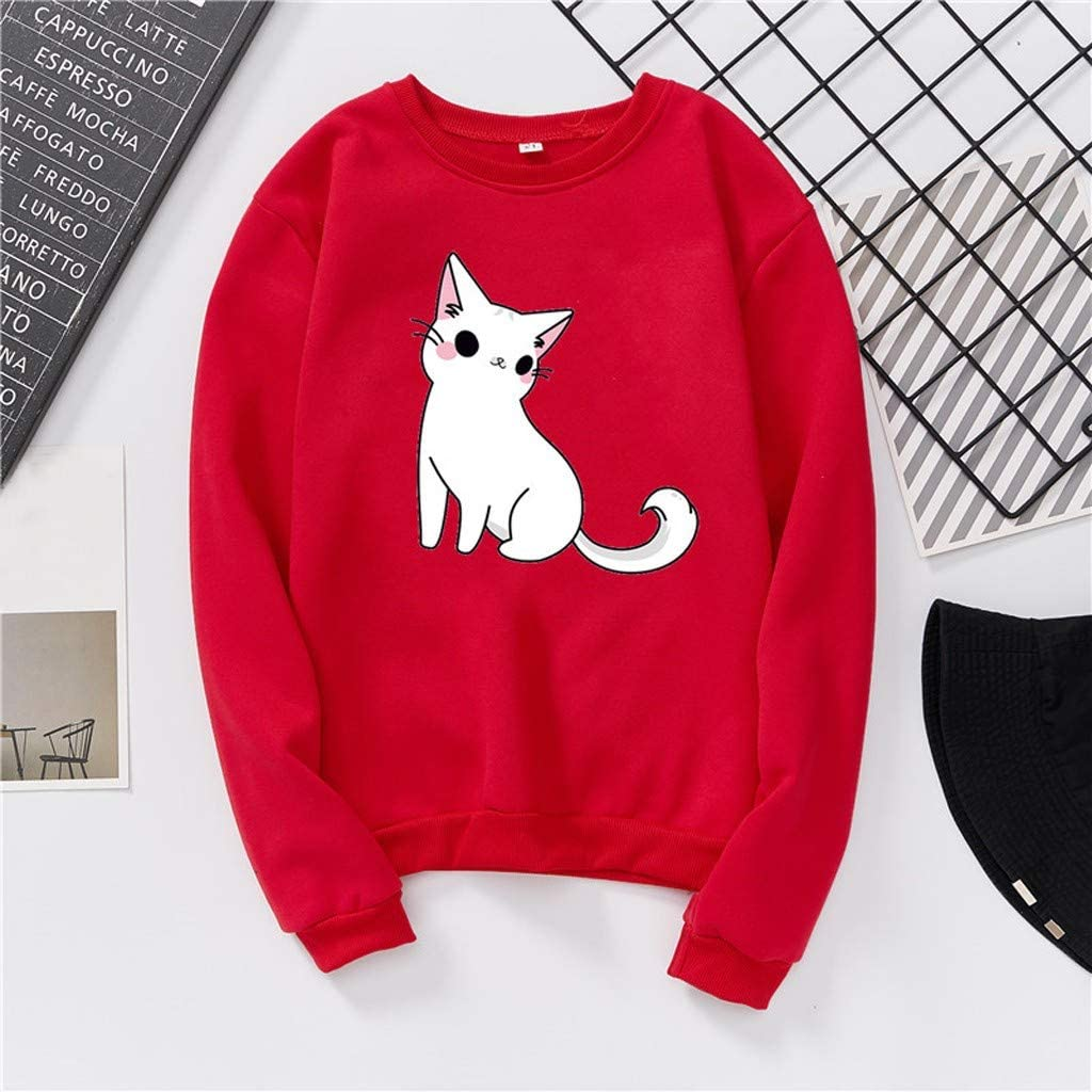 Moudozsdi Womens Cat Graphic Print Casual Sweatshirt Pullover Tops for Teen Girls