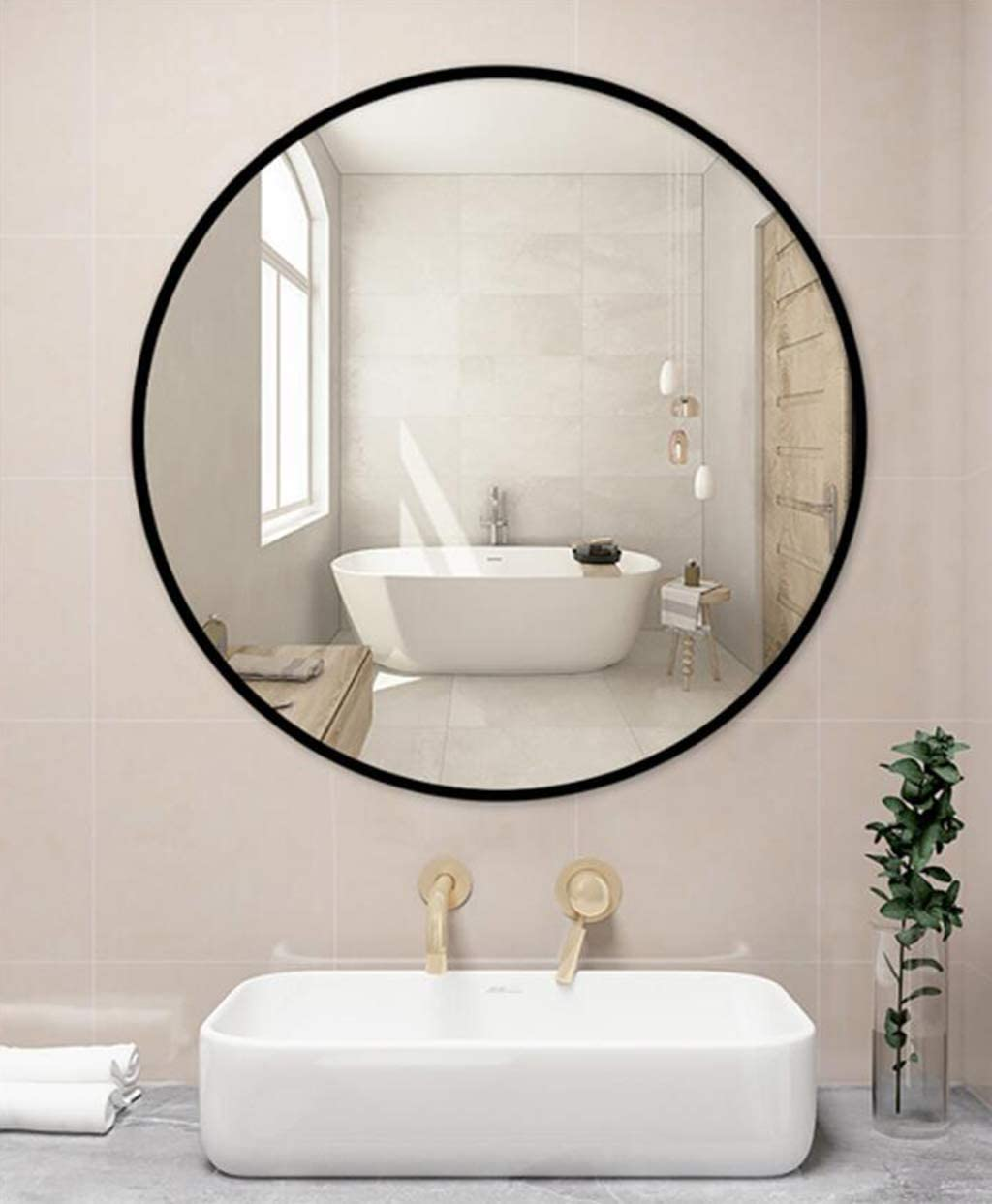 Espejo de pared grande círculo negro - Espejo redondo con ...