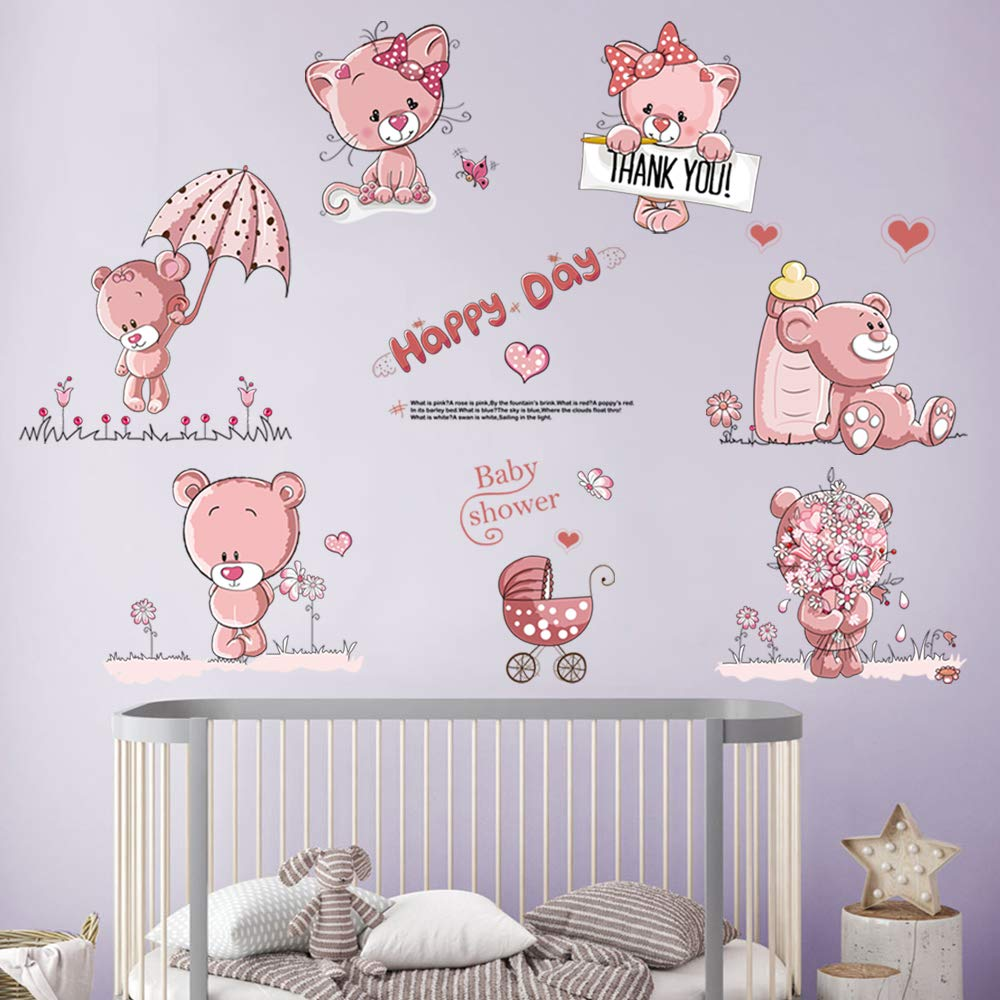 Children S Home Furniture Wandtattoo Kinderzimmer Baby Bar Rosa Wandaufkleber Teddy Barchen Sticker Blumen Home Furniture Diy New Times Bg