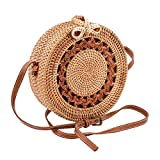 Handwoven Round Rattan Bag Straw Bag Adjustable shoulder Leather Straps with Bow Clasp Natural Chic Handbags Crossbody Purse