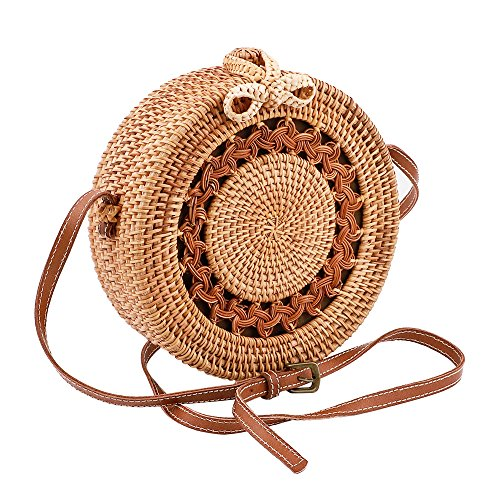 Handwoven Round Rattan Bag Straw Bag Adjustable shoulder Leather Straps with Bow Clasp Natural Chic Handbags Crossbody Purse by Godchoices