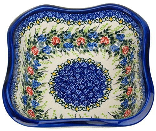 Ceramika Boleslawiecka Kalich Polish Hand Painted Square Bowl by Ceramika Boleslawiecka Kalich