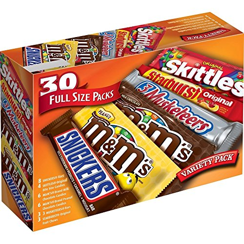 M&M'S, SNICKERS, 3 MUSKETEERS, SKITTLES & STARBURST Full Size Candy Variety Mix 56.11-Oz 30-Ct Box
