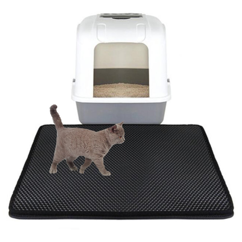 NACOCO Cat Litter Mat Trapper Jumper Cat Box Food Mat with Honeycomb Hole Urine Waterproof Floor Pads (Black) by NACOCO