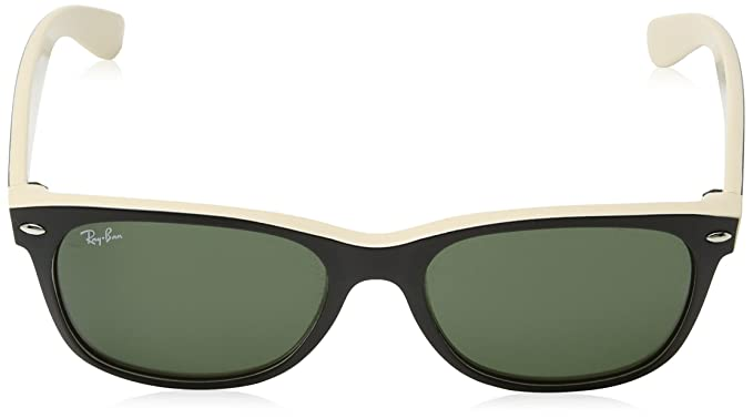 cc808eecc7 Amazon.com  Ray-Ban New Wayfarer RB2132 Sunglasses-875 Black On  Beige Crystal Green-55mm  Ray-Ban  Clothing