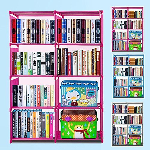 Price comparison product image Meharbour 4-Tier 8-grid Storage Closet Organizer Shelf, DIY Adjustable Cabinet Bookcase Kids Office Bookshelf Closet Shelf Home Furniture Storage (US STOCK) (Pink-8 Cube)