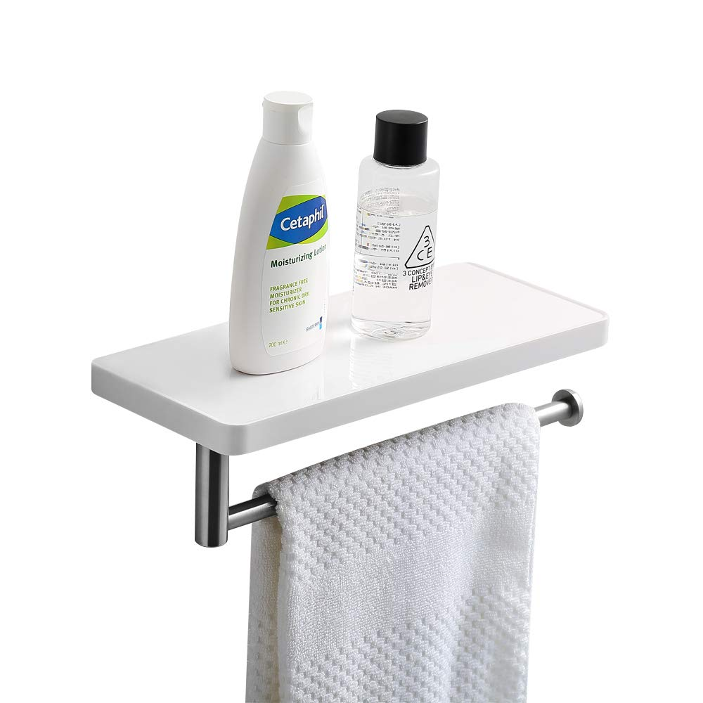CRW Bathroom Shelf with Towel Bar Wall Mount Toilet Paper Tissue Roller Holder with Storage Shelf for Bathroom ASC03