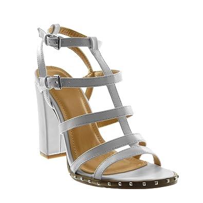 Angkorly Chaussure Mode Sandale Escarpin Lanière Cheville Spartiates Femme  Multi-Bride Clouté Talon Haut Bloc 11 CM  Amazon.fr  Chaussures et Sacs 28d01bad650