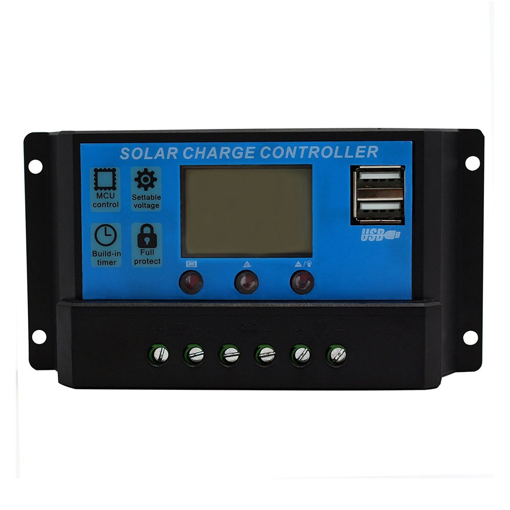 MEIBY Solar Charge Controller, LCD Display Auto Lamp Battery Regulator Timer 12V 24V Solar Panels Use PWM & WPC Mode With USB Suitable for LED Street Lighting or Solar Home System(10A)