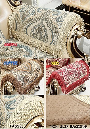 Sideli Luxury Chenille Jacquard Armrest Cover for Chair Couch Sofa AntiSlip Furniture Protector2pc20x24sofa arm Cover Coffee