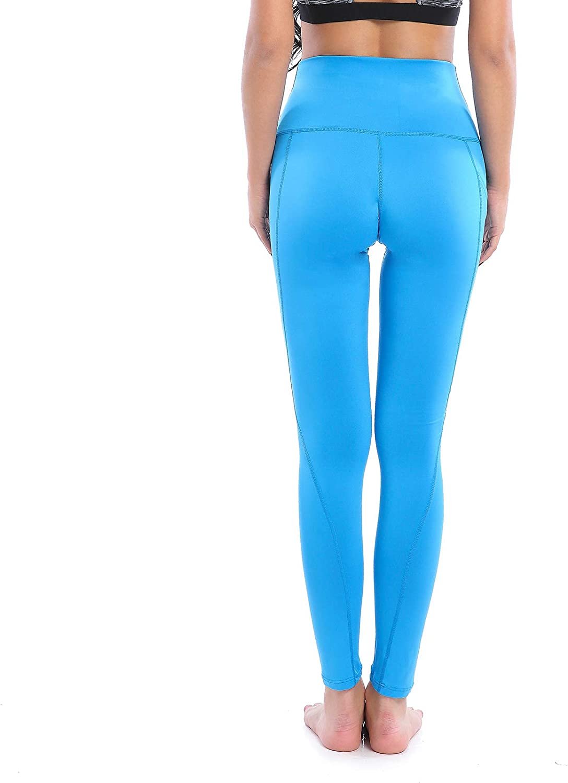 AMZSPORT Trendy Series Leggings de Yoga para Mujeres Pantalones de Correr de Cintura Alta Medias de Fitness con Bolsillo de Tel/éfono