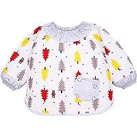 Bebé Niñas Niños Baberos Delantales Con Mangas Largas Impermeables Infantiles Blusón de Algodón Para Pintura y