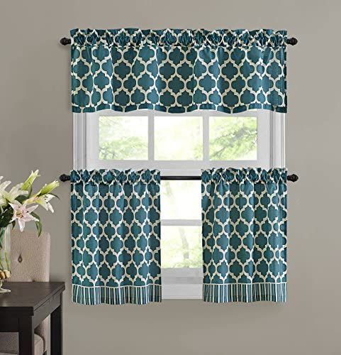 Unbranded Teal Fretwork 3 Piece Valance Tiers Cafe Curtain Set Geometric Modern