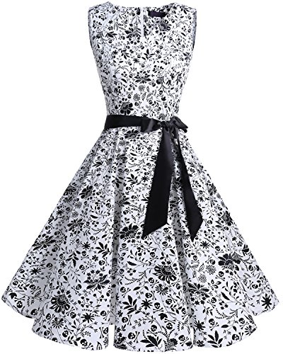 Quinceanera New Gown (Bridesmay Women's V-Neck Audrey Hepburn 50s Vintage Elegant Floral Rockabilly Swing Cocktail Party Dress Leaves Skulls L)
