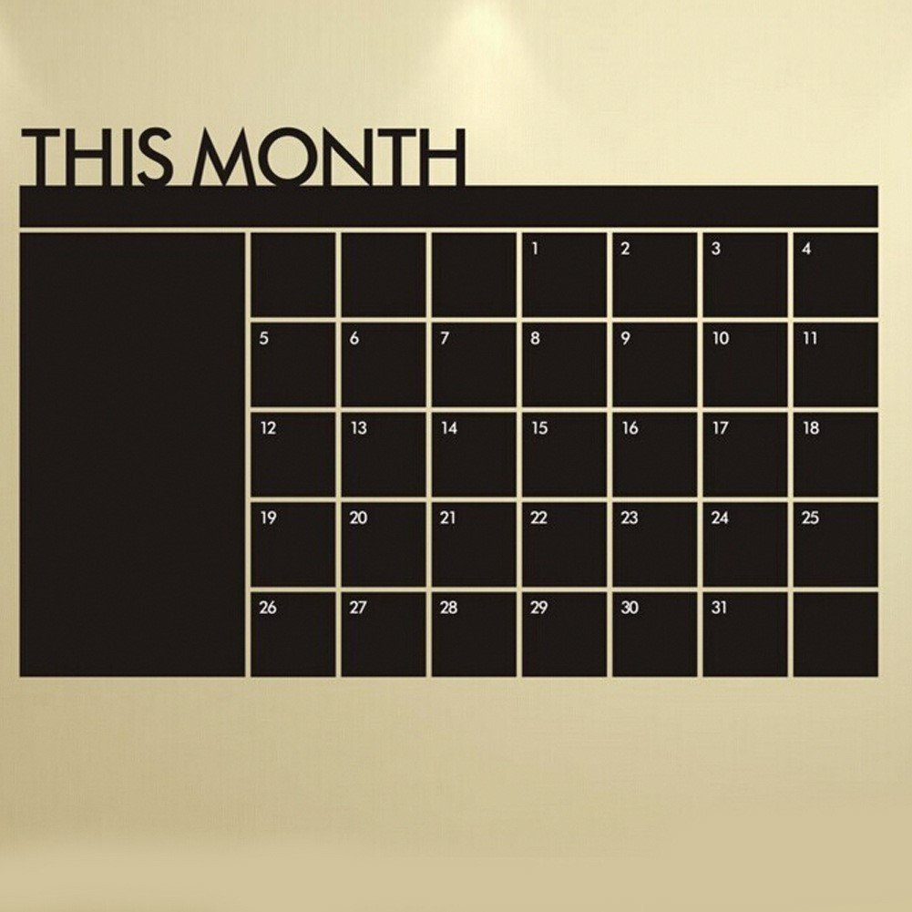 Amazon chalkboard calendar with memo wall decal removable amazon chalkboard calendar with memo wall decal removable waterproof vinyl wall sticker wall art fashion sticker home kitchen amipublicfo Images