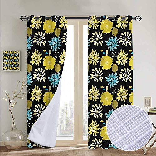NUOMANAN Decorative Curtains for Living Room Floral,Jasmine Peony Design,Blackout Draperies for Bedroom 52