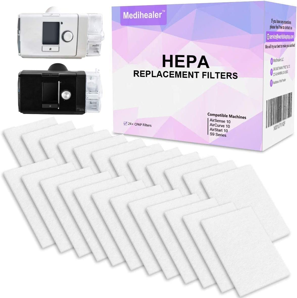 Medihealer CPAP HEPA Filters (ONE Year Supply) - Premium Universal Ultrafine Filters - Supplies for AirSense 10 - AirCurve 10 - S9 - AirStart Series Machines-Replacement Filters Supplies 61bwV1TlElL
