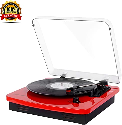 Automatic Belt-Drive LP Vinyl Turntable 3 Speeds, Dust Cover, Anti-Resonance, Line Output Headphone Jack- Red