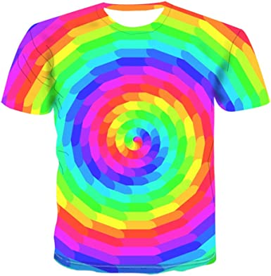Unisex 3D Camiseta Divertidas Impresa Personalizada Verano Casual tee Shirts Círculo Arcoiris-XXL: Amazon.es: Ropa y accesorios