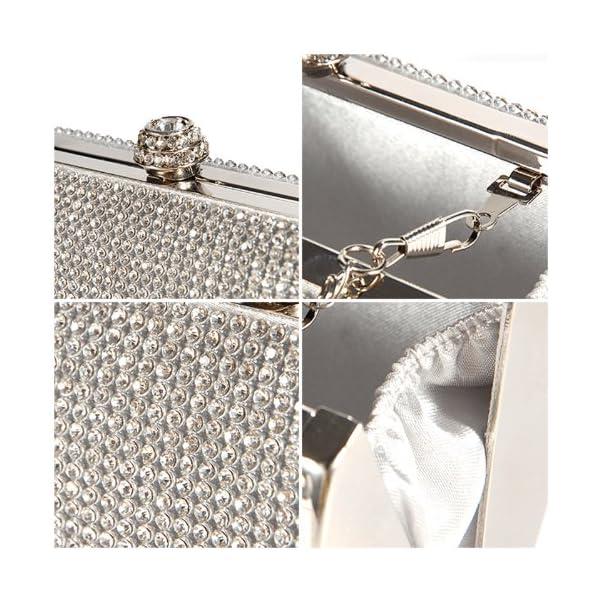 Silver Crystal Diamante Effect Evening Clutch Wedding Purse Party Prom Bag Box - luggage, clutches