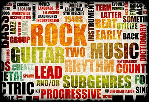Yeele 10x8ft Vintage Rock Backdrop Guitar Retro Hip Hop Rock Music Style Photography Background For Picture Party Banner Decor Singer Boy Girl Adult Portrait Photo Booth Phooting Studio -