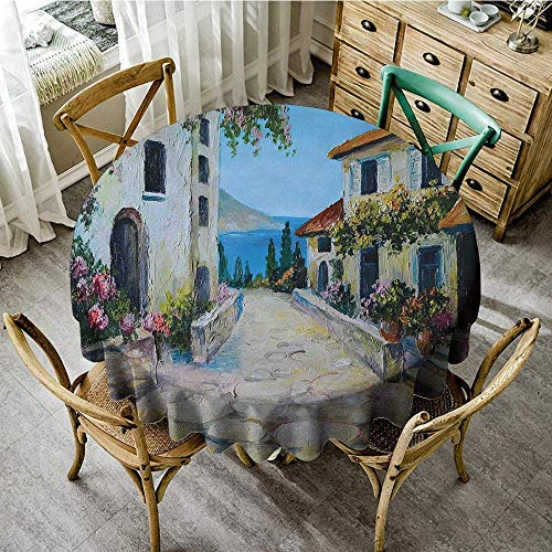 DONEECKL Antifouling Tablecloth Rustic Vintage Houses in Village Near The Sea with Colorful Plants Artistic Table Decoration D71 Pale Blue Beige Mustard