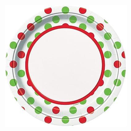 red green polka dot christmas dinner plates
