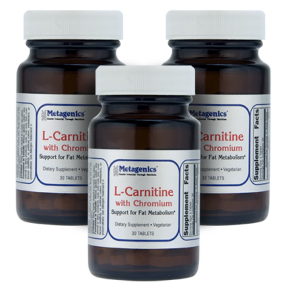 Metagenics L-Carnitine with Chromium Support for Fat Metabolism 30 Tablets - 3-Pak